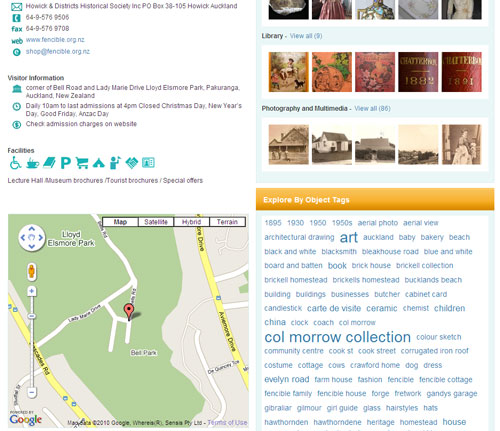 Snapshot of what Google Maps looks like on NZMuseums