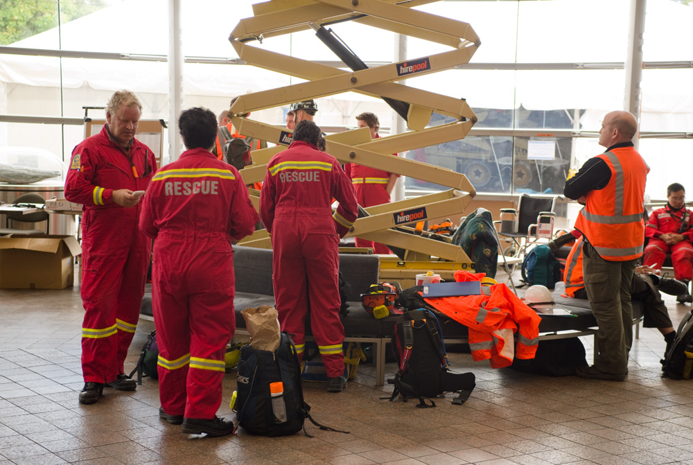 Rescue teams assemble. Photo courtesy of Christchurch Art Gallery.