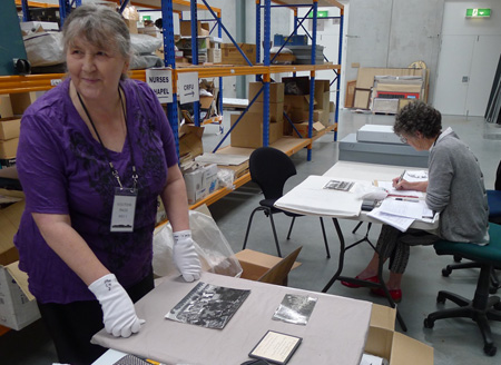 Members of the Nurses Memorial Chapel completing an initial inventory of their collection