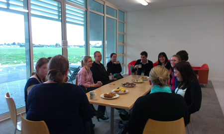 Emerging Museum Professionals having a catch up after a tour of the Recovery Centre