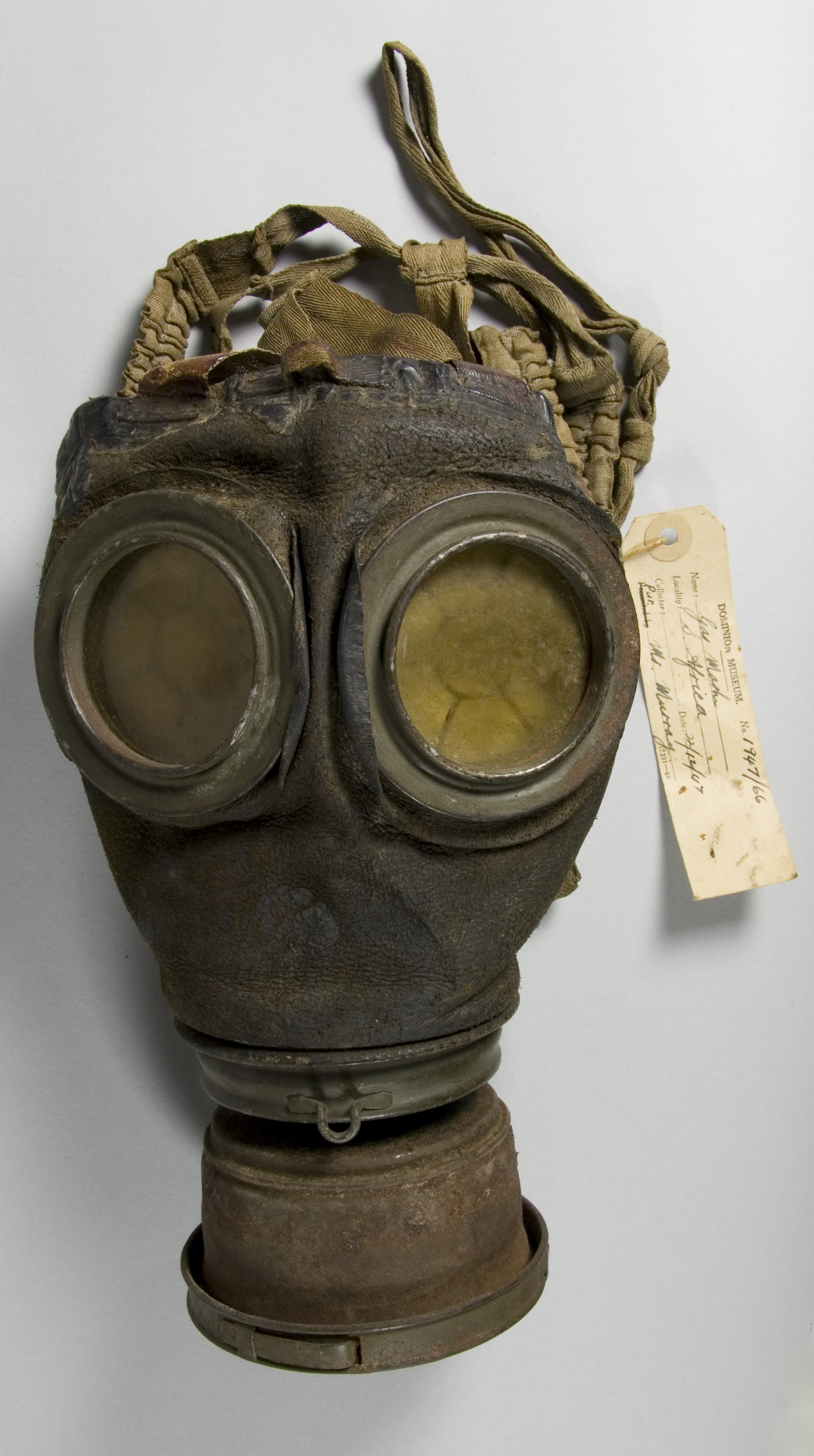 Gas masks may have asbestos fibres in the filters. Gas mask (Lederschutzmasken), 1917-1918, Germany, maker unknown.
